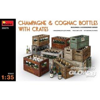 1:35 Champagne & Cognac Bottles w/Crates