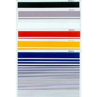 Decal Set Streifen schwarz/weiß/Aluminium/Rot/Gelb/Blau